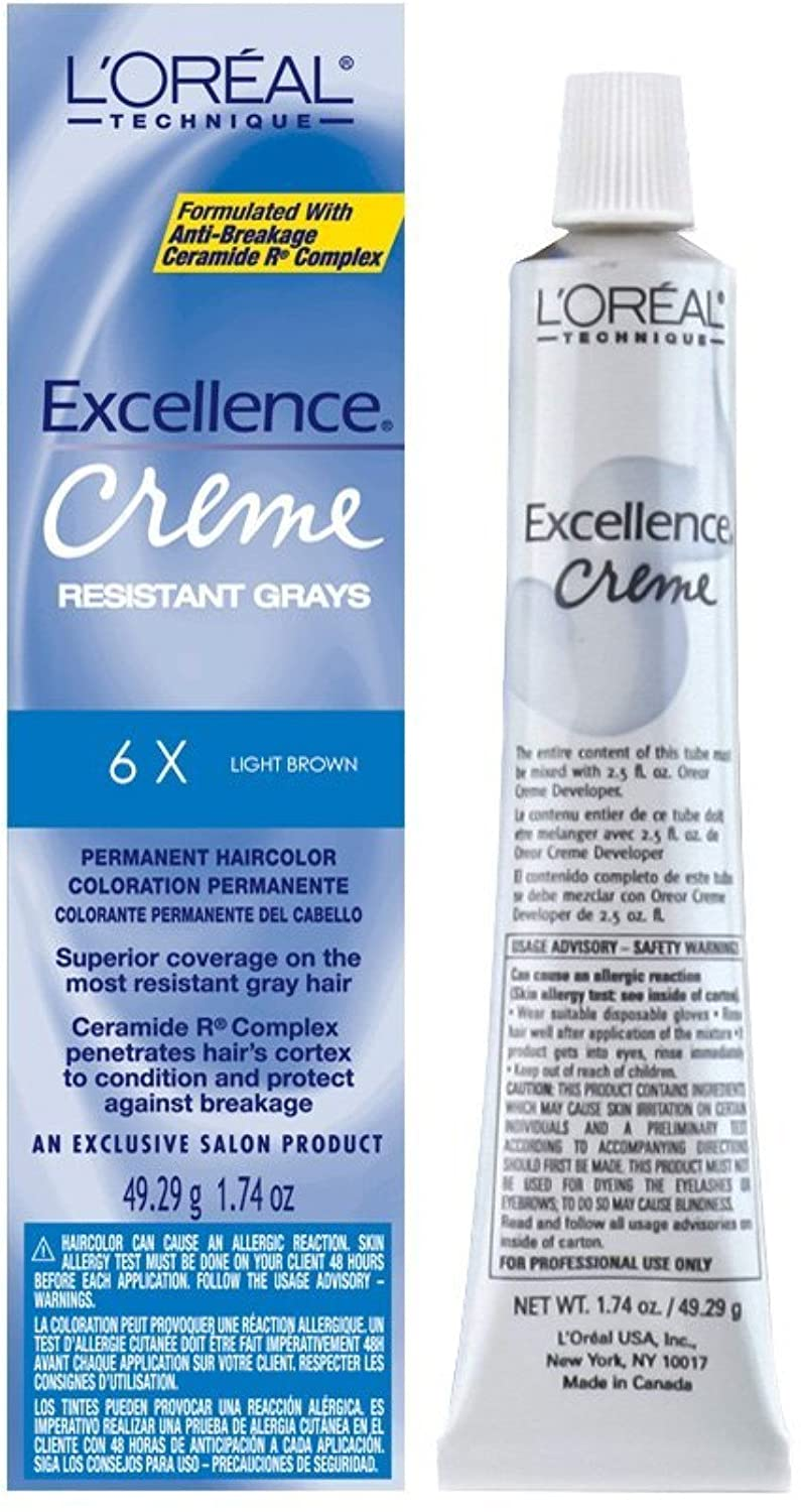L'oreal Excellence Creme Superior Grey Coverage, 6X Light Brown, 1.74 Ounce
