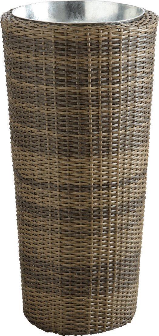 Vase rund Polyrattan 2Stück