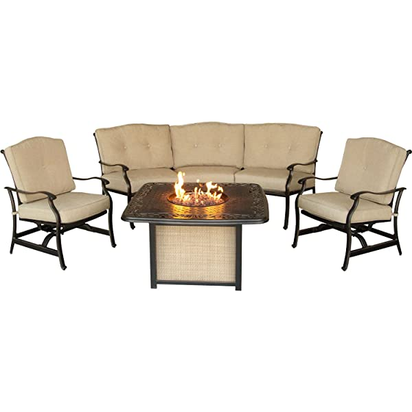 Hanover Outdoor Furniture TRADDURA4PCFP Traditions 4 Piece Conversation Set with 40