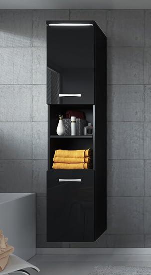 Badezimmer Schrank Paso 160 cm Hochglanz Schwarz Fronten – Regal Schrank  Hochschrank Schrank Möbel