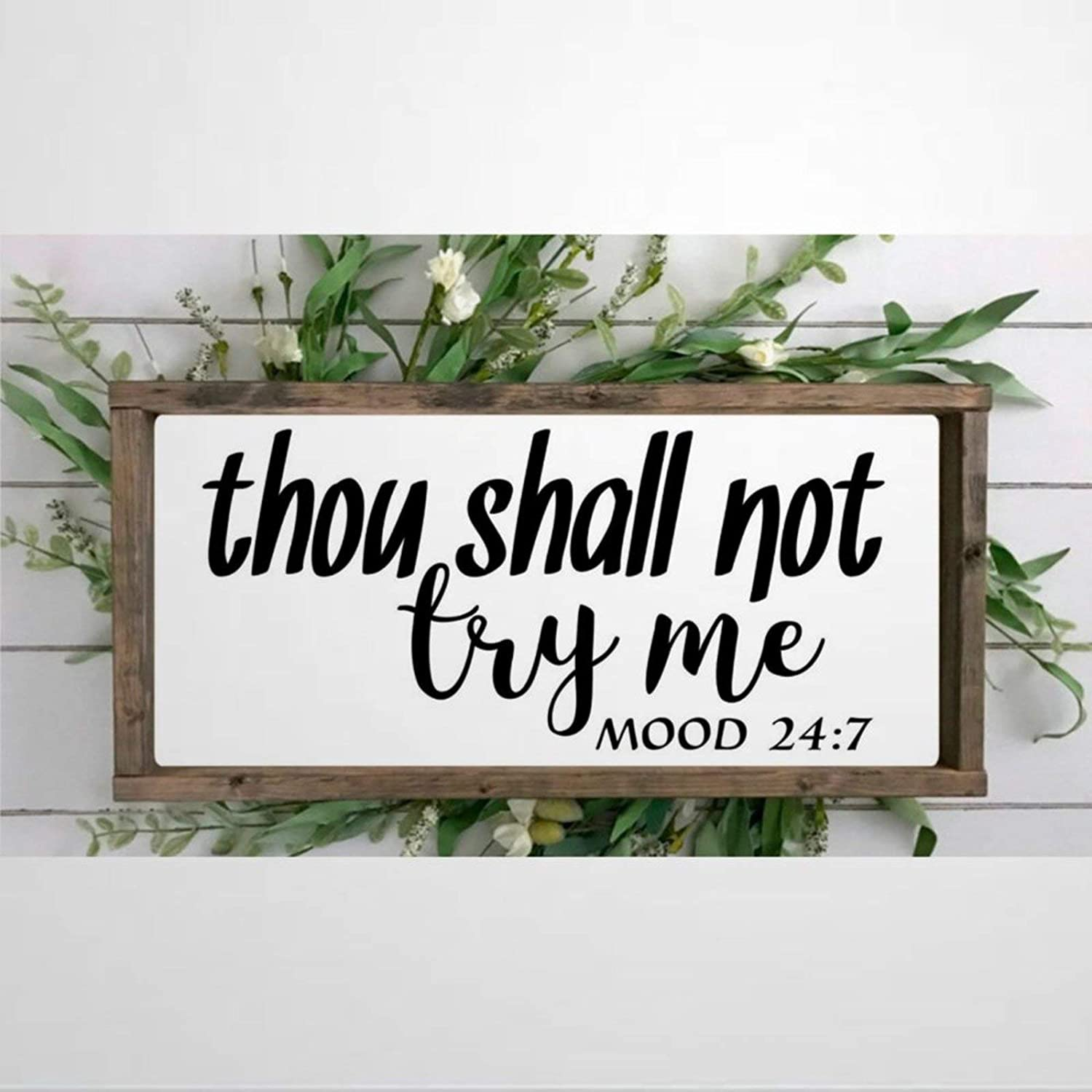 DONL9BAUER Framed Wooden Sign Thou Shall Not Try Me Wall Hanging Mood 24 7 Wood Sign, Mom Wife Boss Farmhouse Home Decor Wall Art for Living Room