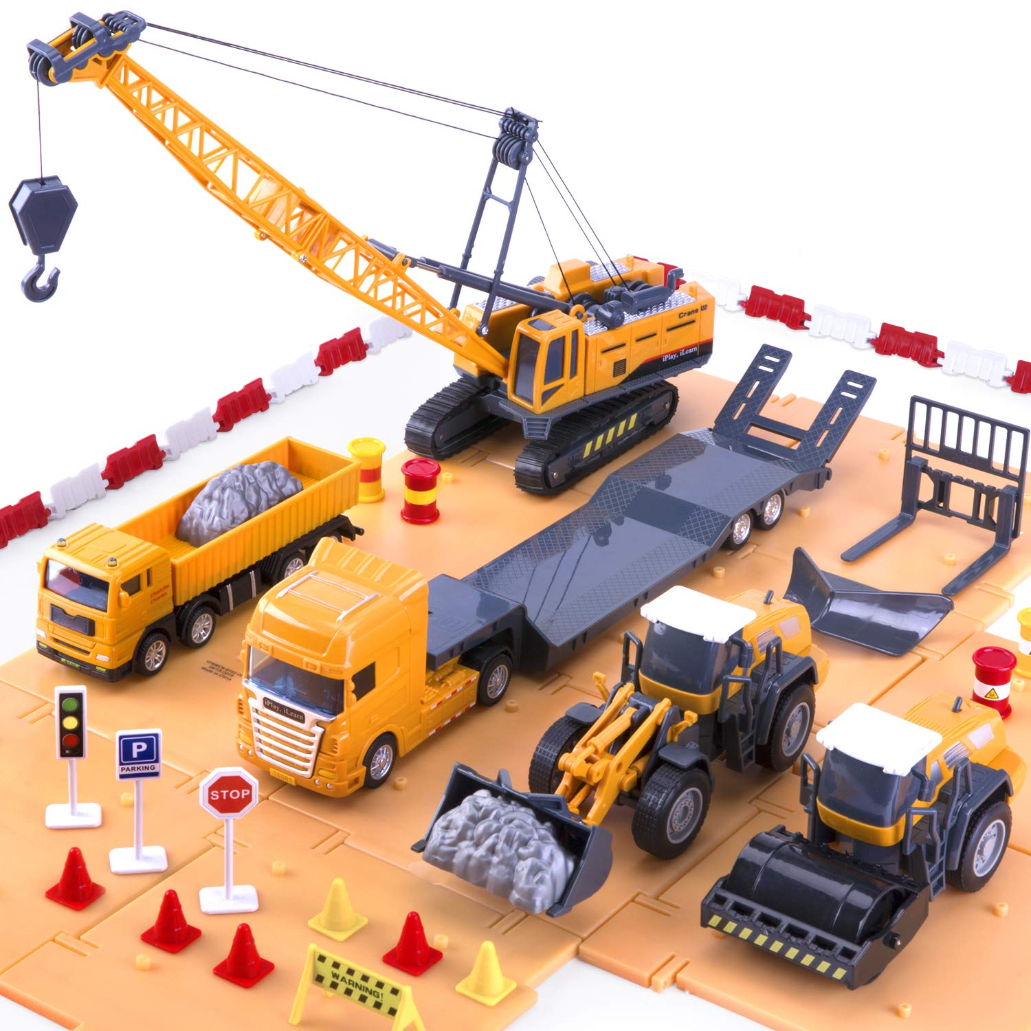 I Hope This Crane Is Just Hiding Other >> Iplay Ilearn Construction Vehicle Play Set Crane Trucks Bulldozer Trailer Toys For Kids Boys