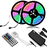 New 2020 LED Strip Lights Kit Waterproof – Two 16.4ft 600 LEDs SMD 2835 RGB Light with 44 Key Remote Controller, Extra Adhesive Tape, Flexible Changing Multi-Color Lighting Strips for TV, Room