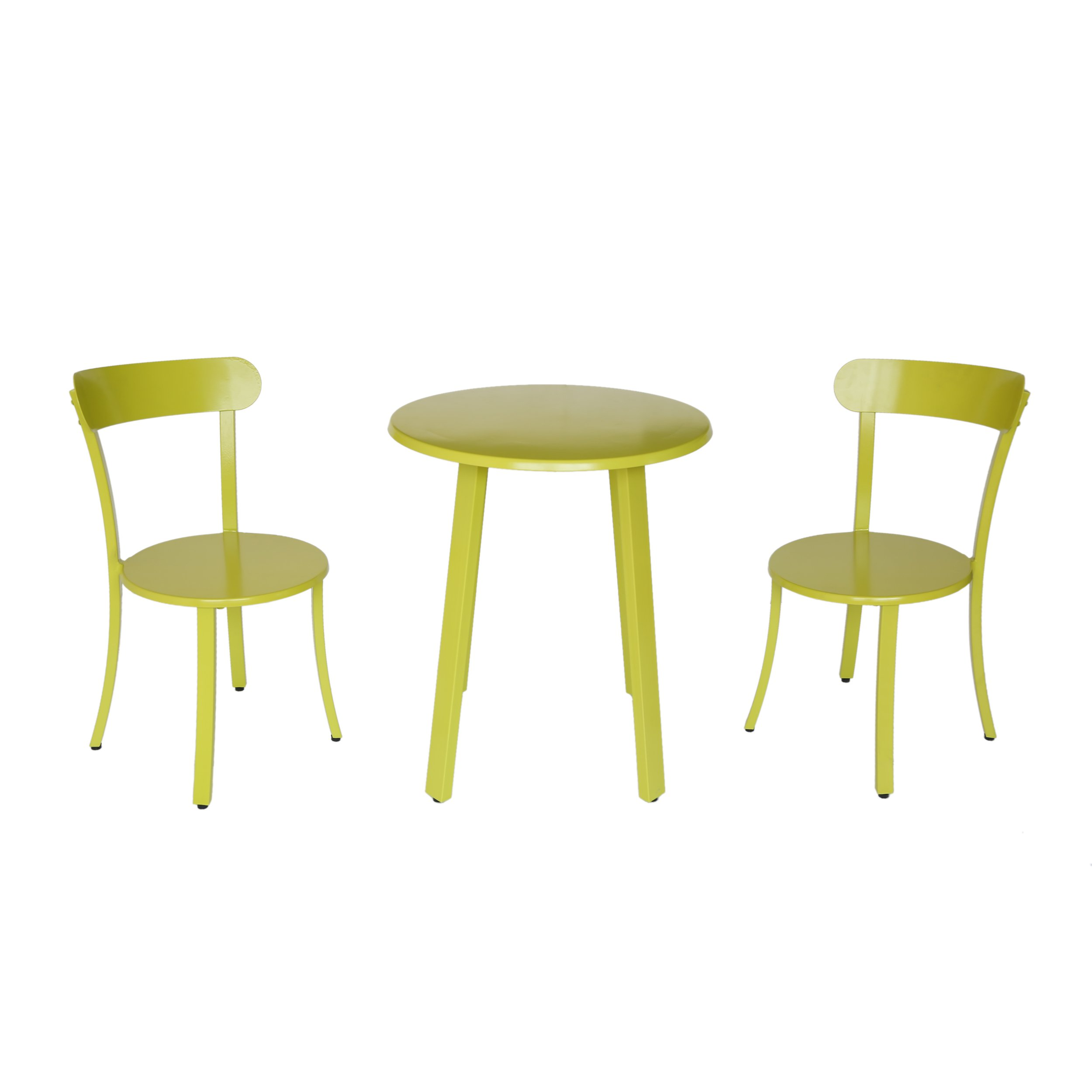 Christopher Knight Home Larson Outdoor Bistro Set, Matte Lime Green