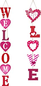 Jetec 2 Pieces Valentine's Day Hanging Signs Welcome Love Hanging Wooden Signs Valentine Heart Wood Porch Signs Vertical Wall Door Sign Decoration for Valentine's Day Party Home Decor