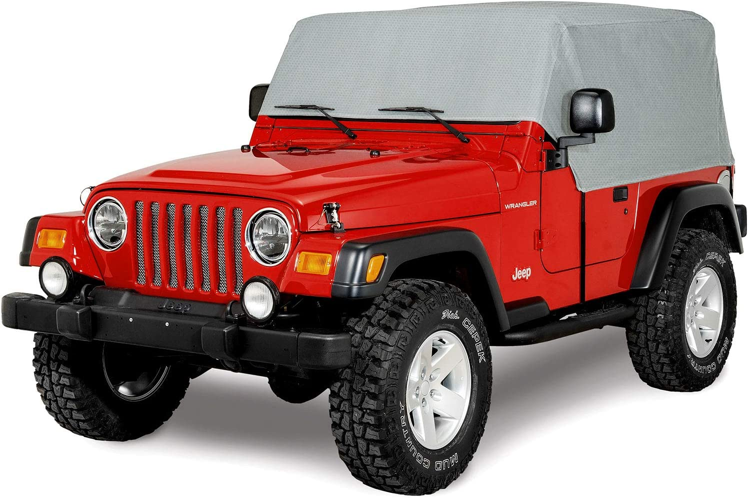 North East Harbor 4-Layer Breathable Cab Car Cover For 1976-2006 Jeep Wrangler and Weather Resistant Storage Cover UV Protected Breathable Material Grey