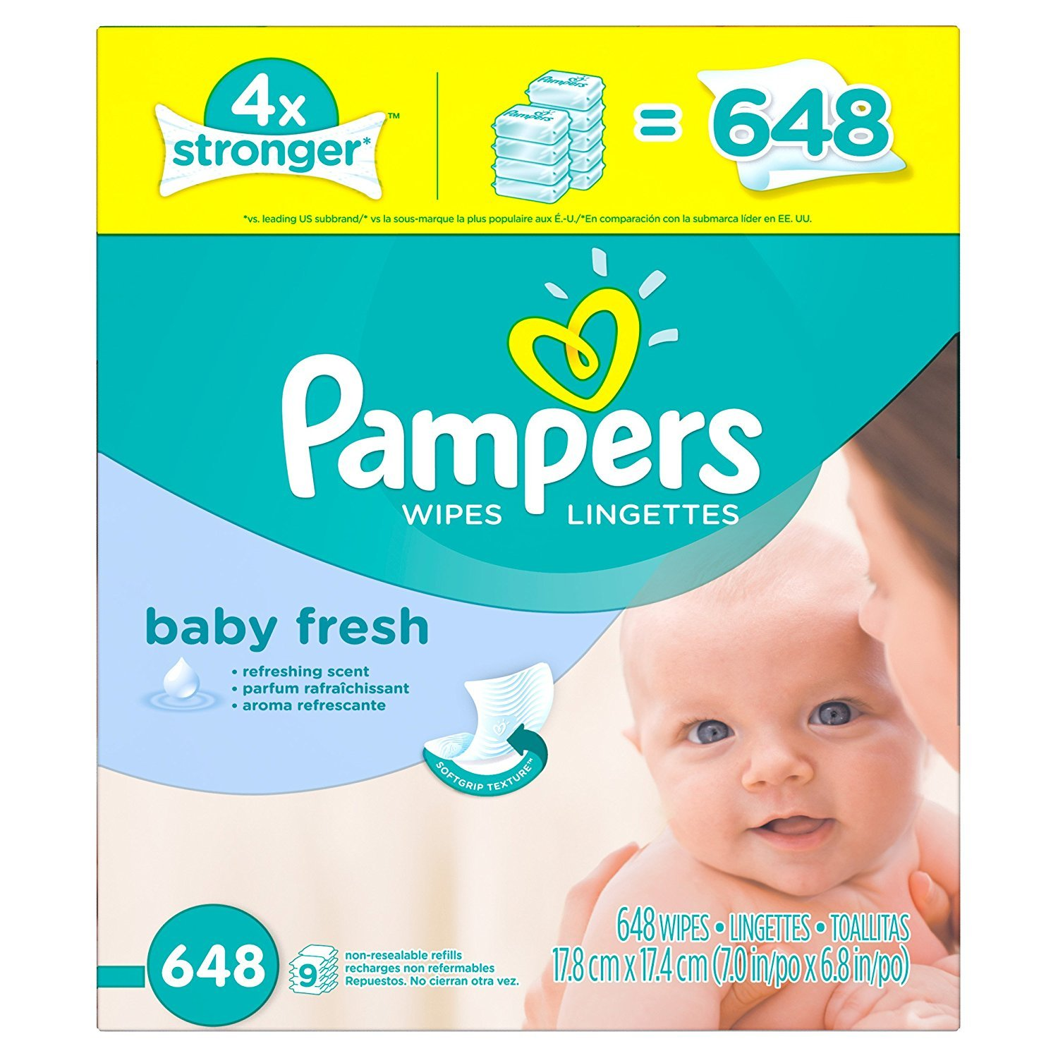 Amazon.com : Pampers Refreshing scent Hypoallergenic Unique Softgrip Texture, Pure Water Lotion Baby Fresh Baby Wipes Refill Pack 648 Count : Baby