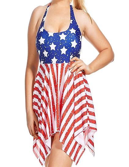 72538b6d8d Amazon.com  Dreaman Swimsuit Bathing Beachwear Women Two Piece American Flag  Bandage Bikini Set Push-up Bra  Clothing