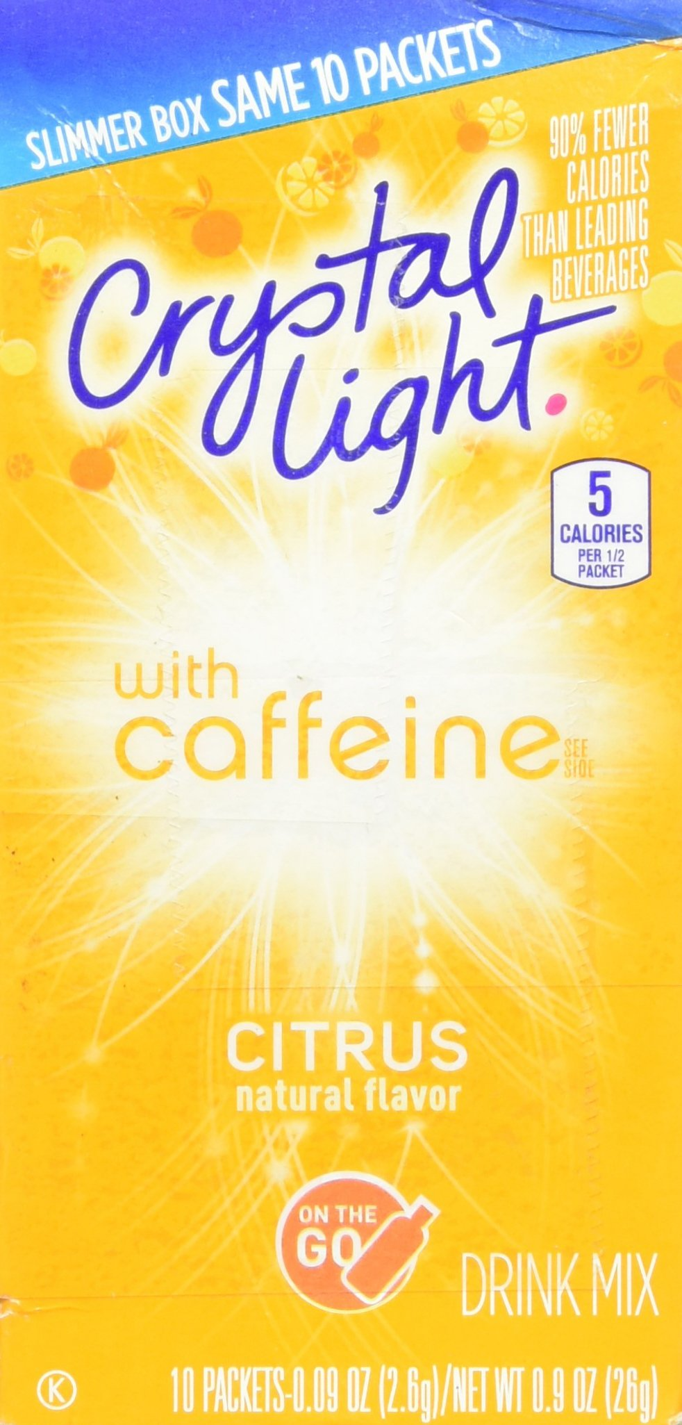 Crystal Light On The Go Citrus Caffeine, 10 Packets (Pack of 4)