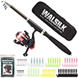 Walsilk Spinning Fishing Rod and Reel Combo Full Kit,Bonus 1 Mesh Head Net,Travel Portable Telescopic Fishing Pole with Reel Line Lures Hooks Bag Case,Fishing Gear Organizer for Kids & Adults