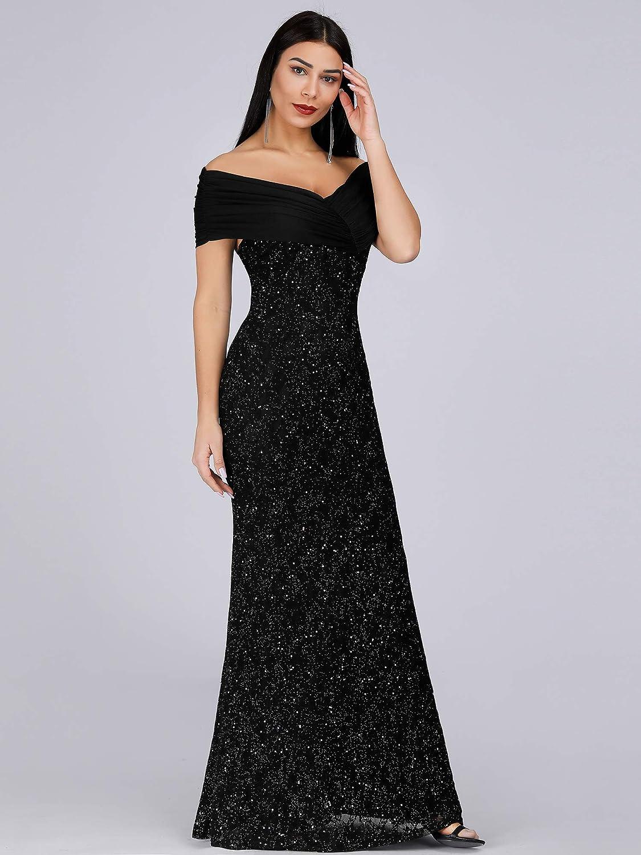 Ever-Pretty Sirena Vestido de Noche Fuera del Hombro Lunares Largo para Mujer 07953