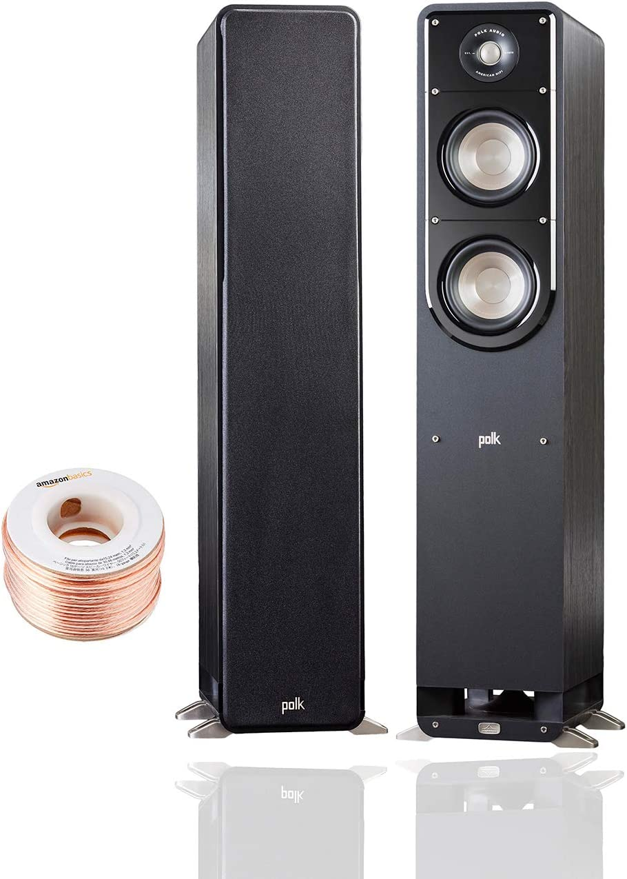 Polk Audio Signature Series S50 Floor Standing Speaker (Pair) with Amazon Basics 14 Gauge 50' Wire Cable | American HiFi Surround Sound | Stylish Looks, Big Sound | Detachable Magnetic Grille