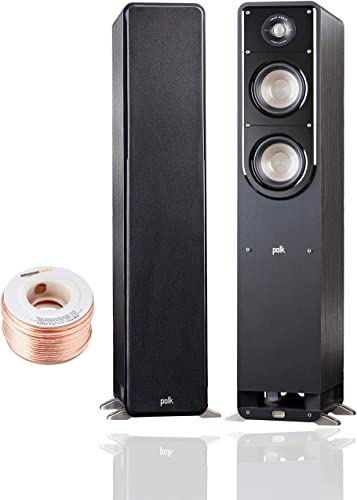 Polk Audio Signature Series S50 Floor Standing Speaker Pair with Amazon Basics 14 Gauge 50 Wire Cable American HiFi Surround Sound Stylish Looks, Big Sound Detachable Magnetic Grille