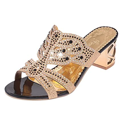 ee29ef743ea6 Image Unavailable. Image not available for. Color  GBSELL Women s Lady Summer  Rhinestone Wedge Slippers Heeled Sandal Dress Shoes ...