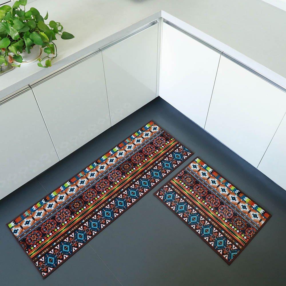 iisutas 2 Piece Non-Slip Kitchen Mat Runner Rug Set Doormat Vintage Design Bohemia Style,Brown (15''x47''+15''x23'')