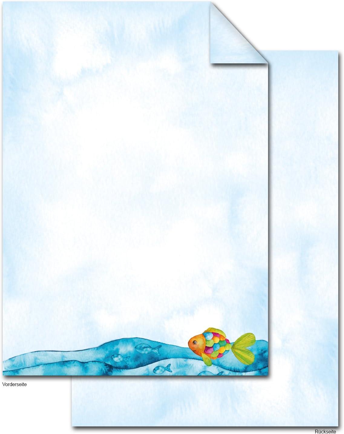20 Blatt Briefpapier Motivpapier mit Sommer-Motiv Urlaubs-Motiv Maritimes 100g