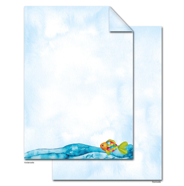 25 hojas de papel azul türkises Carta Regenbogenfisch peces en Océano Mar aspecto, 100 g Carta hojas DIN A4 para invitaciones para comunión infantiles Pesca ...