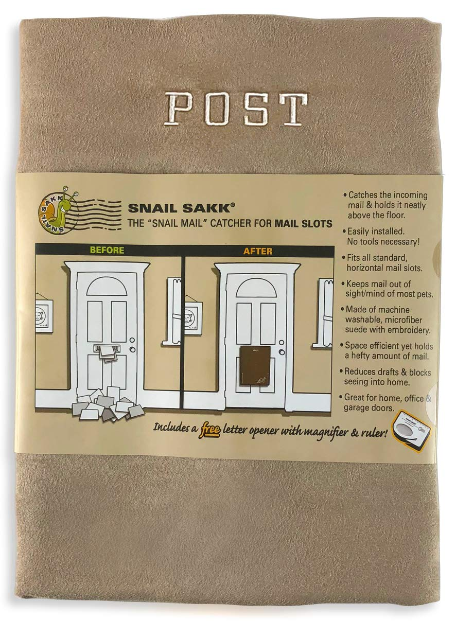 SNAIL SAKK: Mail Catcher for Mail Slots - TAN/Post. No Tools/Screws Required! Space efficient, Reduces Draughts, and More! (Basket Letter Cage Door Hardware Seniors Pregnant)
