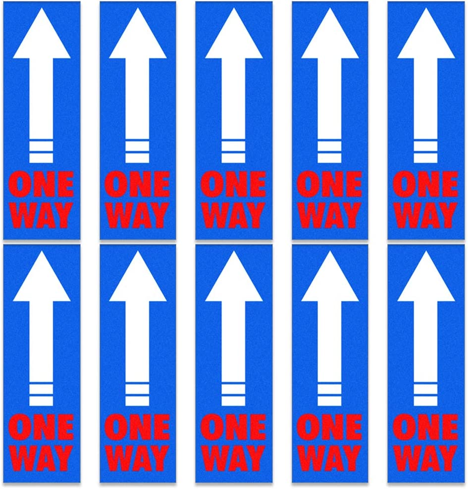 Hohomark Directional Arrow Floor Decals,10pcs, 4.75''x 14.5'' One Way Floor Sign Stickers for School Business Office Store Hospital