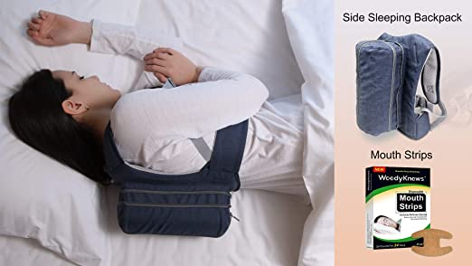 WoodyKnows Side Sleeping Backpack Anti-Snoring Adjustable Pillow, Solution to Tongue Snoring, Stop Snoring Caused by Lying on The Back, Alternative to Mouthpiece (Backpack + Mouth Strips, Bust<40 in)