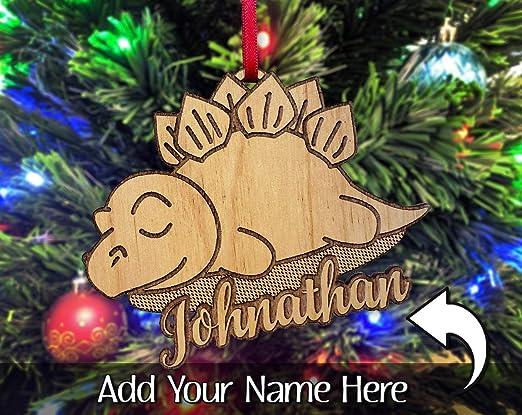 Dinosaur christmas decorations Wooden Tree Decorations Personalised