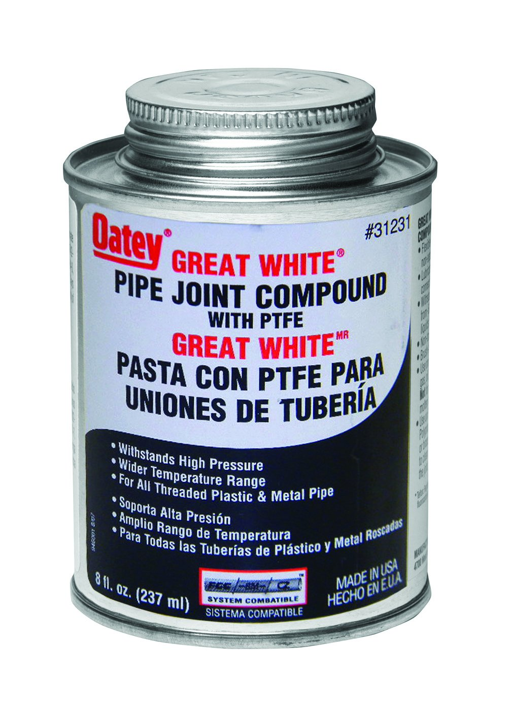 Oatey 31231 Pipe Joint Compound with PTFE with Brush 8 fl.Ounce