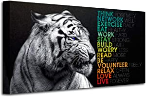 Animal Tiger Canvas Wall Art,Motivational Quotes Motto Inspirational Picture Canvas Prints with Frame, Wall Art Decorative