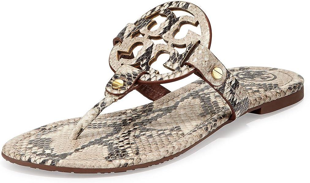 009b8445a Miller Snake Roccia Python Print Logo Thong Sandal Natural. Tory Burch ...