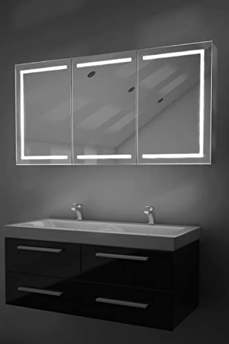 DIAMOND X COLLECTION Eliza LED Bathroom Mirror Cabinet with Demister Pad, Sensor Shaver k380