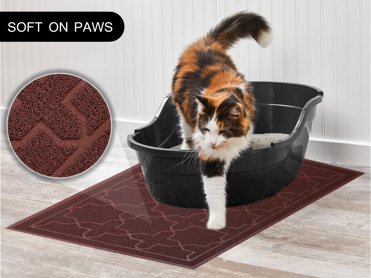 Cat Litter Mat Dog Bowl Mat for Litter Box Waterproof PVC Material for Scatter Control Non-Slip Absorbent Pet Food Mat for Cats or Dogs