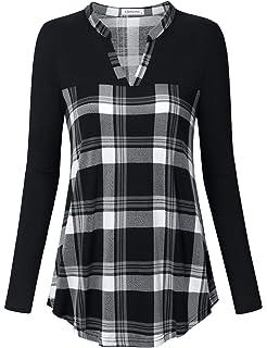 3351c527 Women Tunic Tops Loose Long Sleeve Shirt Tartan Lace Button Basic ...