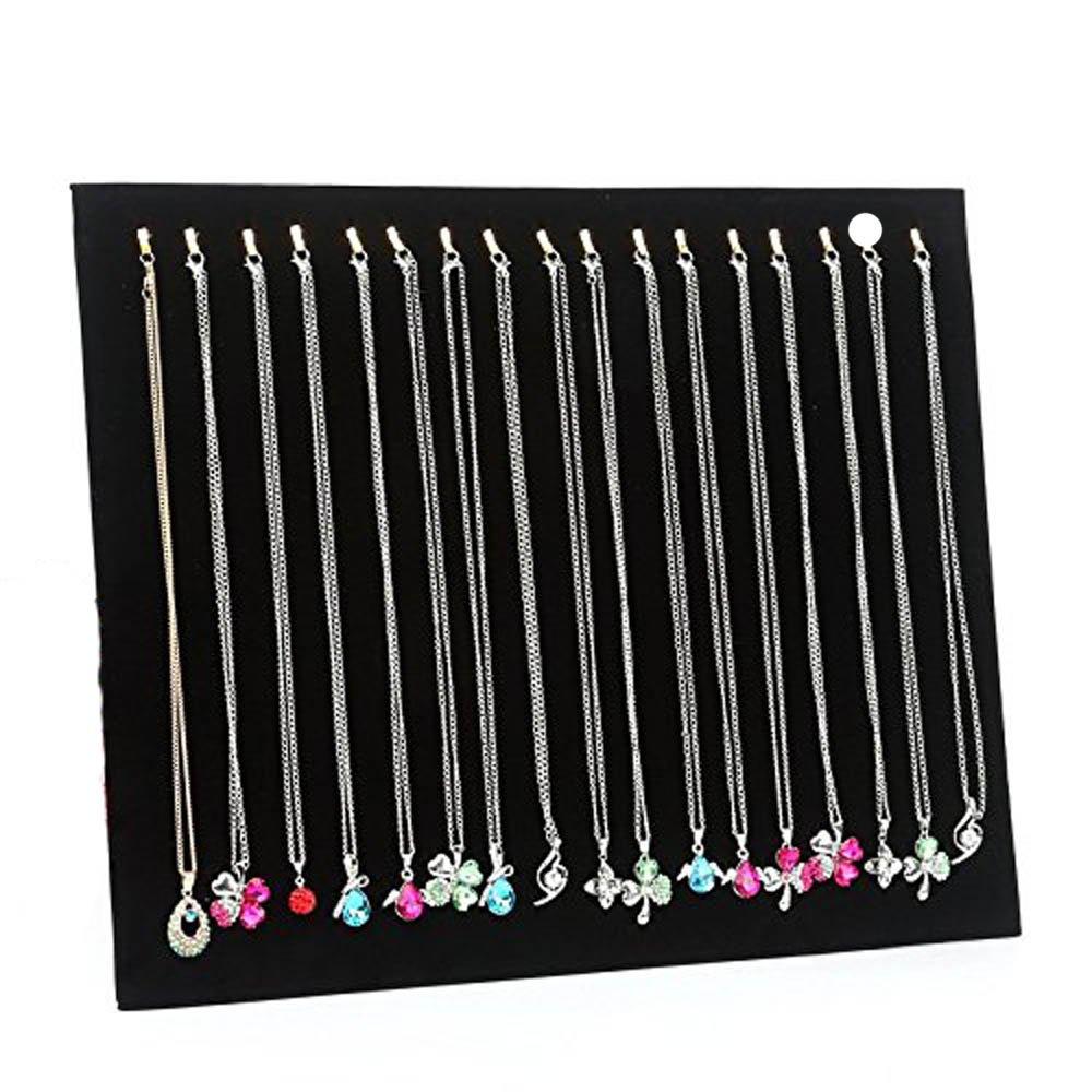 NT_Big Black Velvet 17 Hook Necklace Jewelry Tray Display Organizer (17 Hook Necklace Display)