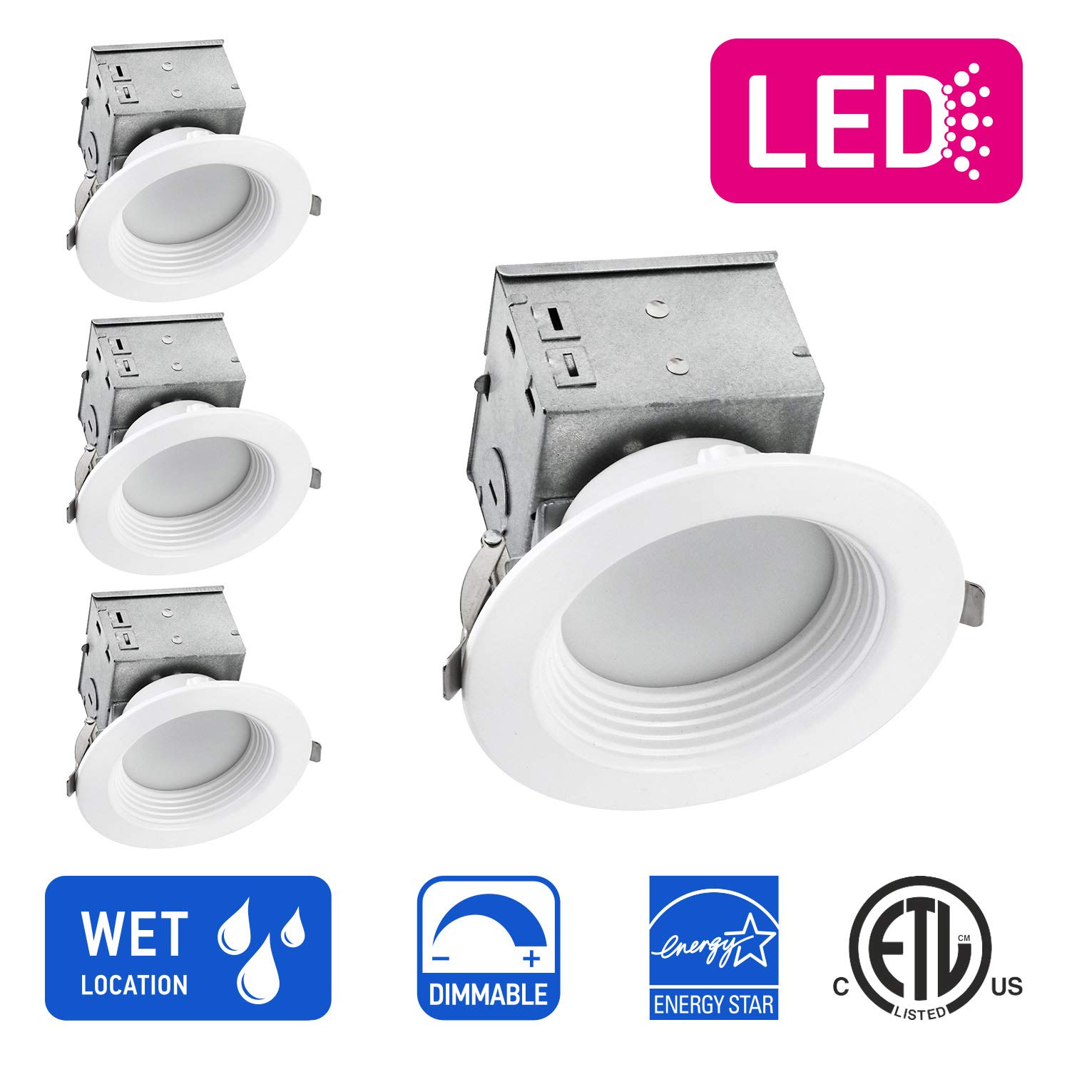 75Watt Repl No Can Needed ETL and Energy Star Listed Baffle Trim 4 inch IC Rated Round LED Ceiling Recessed Downlight Kit With Junction box OSTWIN Dimmable 10W 5000K Daylight 4 Pack 750Lm