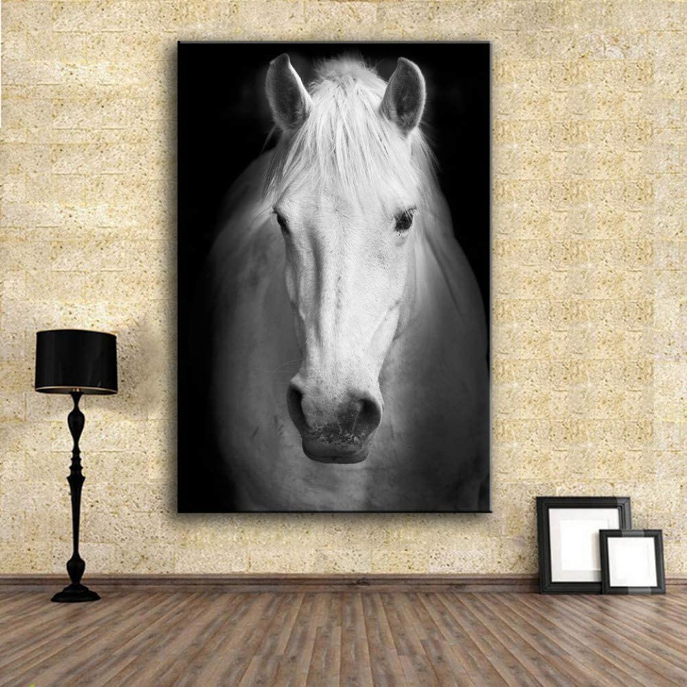 Canvas Paintings Wall Art Prints Fine Art Prints Wall Painting White Horse Animal Picture for Living Room No Frame