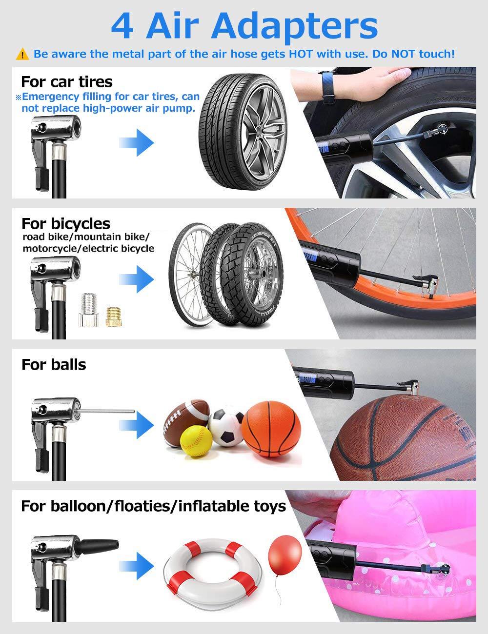 Compressore Aria Portatile Auto Mini Pompa Elettrica Ricaricabile 150PSI 1000mAh*3pcs con schermo LCD luce LED 4 Adattatori per Auto Biciclette Palloni Anello di Nuoto e Giocattoli Gonfiabili