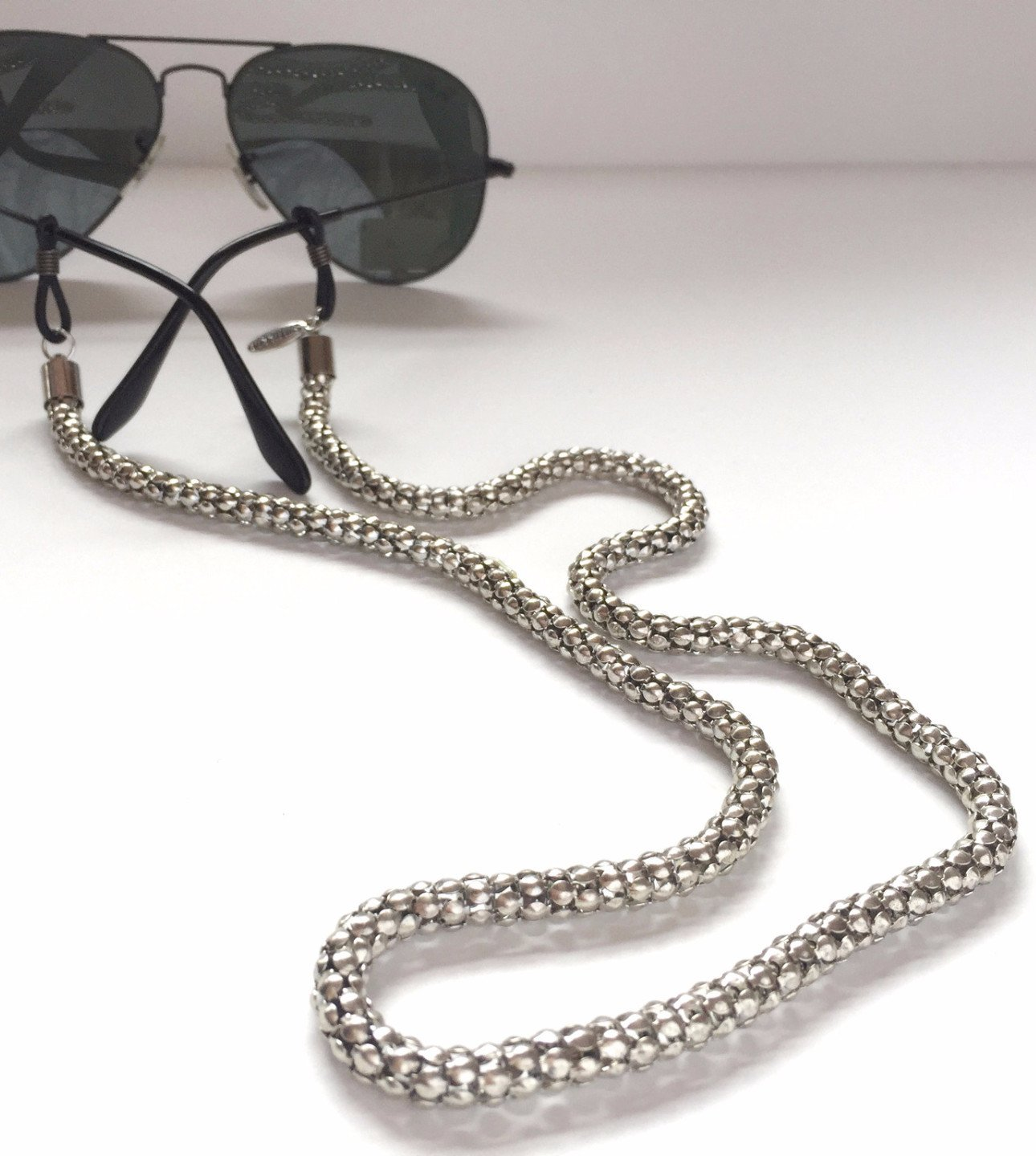 Sintillia Silver Glow Chain Sunglass Strap, Glasses Chain, Eyeglass Cord, Skinny (6mm) with Clear Attachments