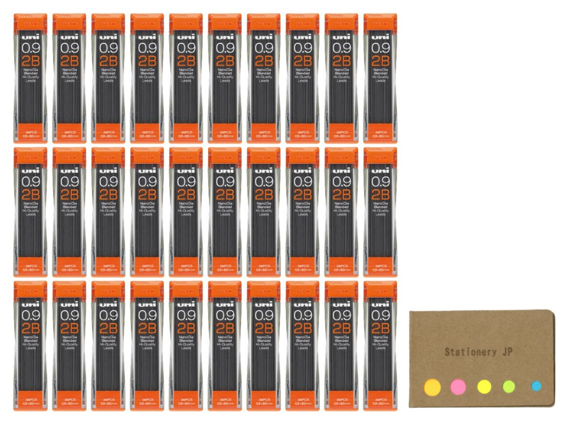 Uni NanoDia Mechanical Pencil Leads 0.9mm 2B, 30-pack/total 1080 Leads, Sticky Notes Value Set by Stationery JP (Image #1)
