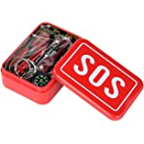 STMAN Outdoor Emergency Survival Gear Kit SOS Survival Tool Pack 6 Piece contain Magnesium flint fire Multi-function Saber Card Wire Saw Multifunctio One Pack/Traveling/Hiking/Biking/Climbing