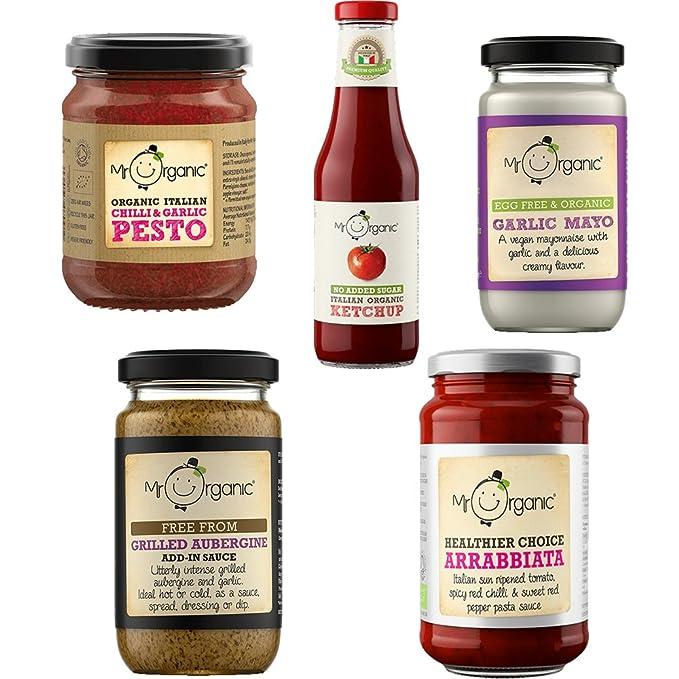 Mr. Organic Combo Pack de 5: Salsa de pasta, mayonesa, ketchup,