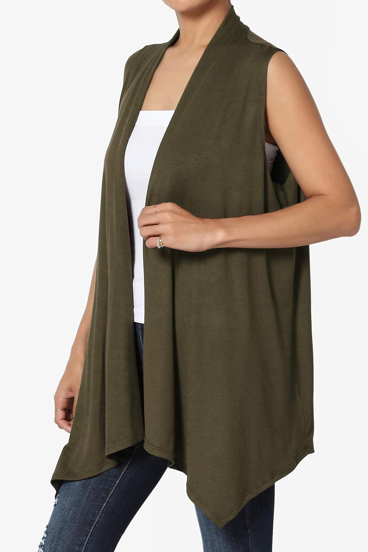 TheMogan Sleeveless Waterfall Jersey Cardigan Lightweight Draped Layering Vest