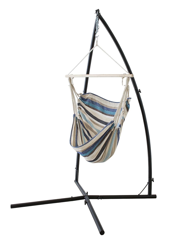 ハンモックチェア/揺り椅子 【ブルー】 スチールフレーム RKC-538BL ds-1937658
