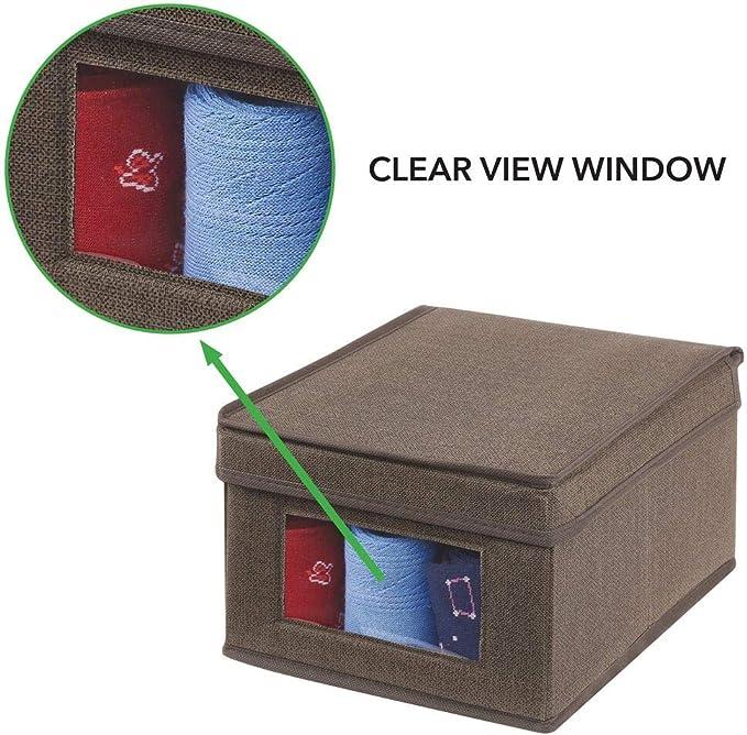 mDesign Caja de almacenamiento Cajas para ropa rectangulares para el dormitorio gris Organizador apilable grande y de fibra sint/ética con tapa y ventana de visualizaci/ón