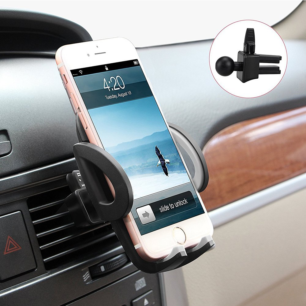 Support Telephone Voiture Ventilation - Auto Universel avec Rotation 360° à Angle Réglable pour iPhone 7/6s/6/SE/5/5s, Samsung Galaxy S8/S7/S7edge/a5/Note, Nexus, LG, Sony, Android Smartphones, Appareils GPS Desstockfree