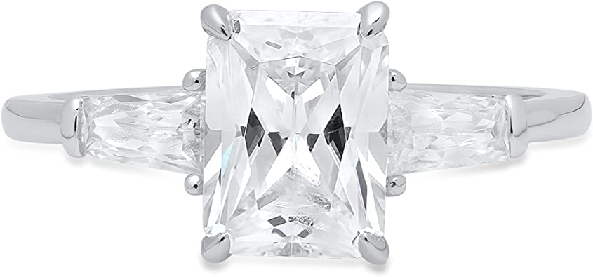 2.10 Ct Solitaire Diamond Real 14k White Gold Engagement Ring Promise For Her
