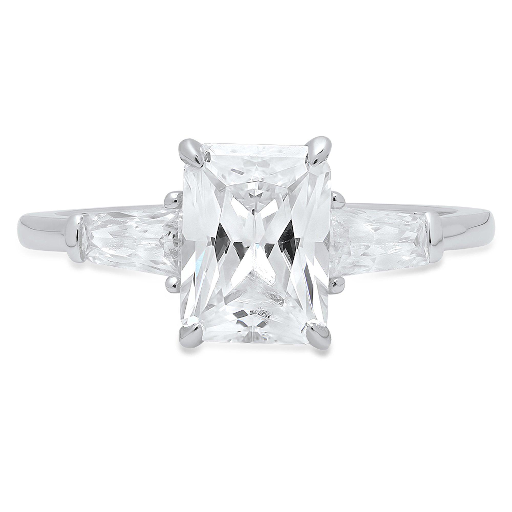 2.10 CT Brilliant Emerald & Baguette Cut Simulated Diamond CZ Designer Solitaire 3-Stone Band Ring Solid 14K White Gold