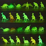 Yeonha Toys 80 Piece Glow in Dark Mini Dinosaur Toy Set(24 Style), Plastic Realistic Dino Figure, Luminous Noctilucent for Ki