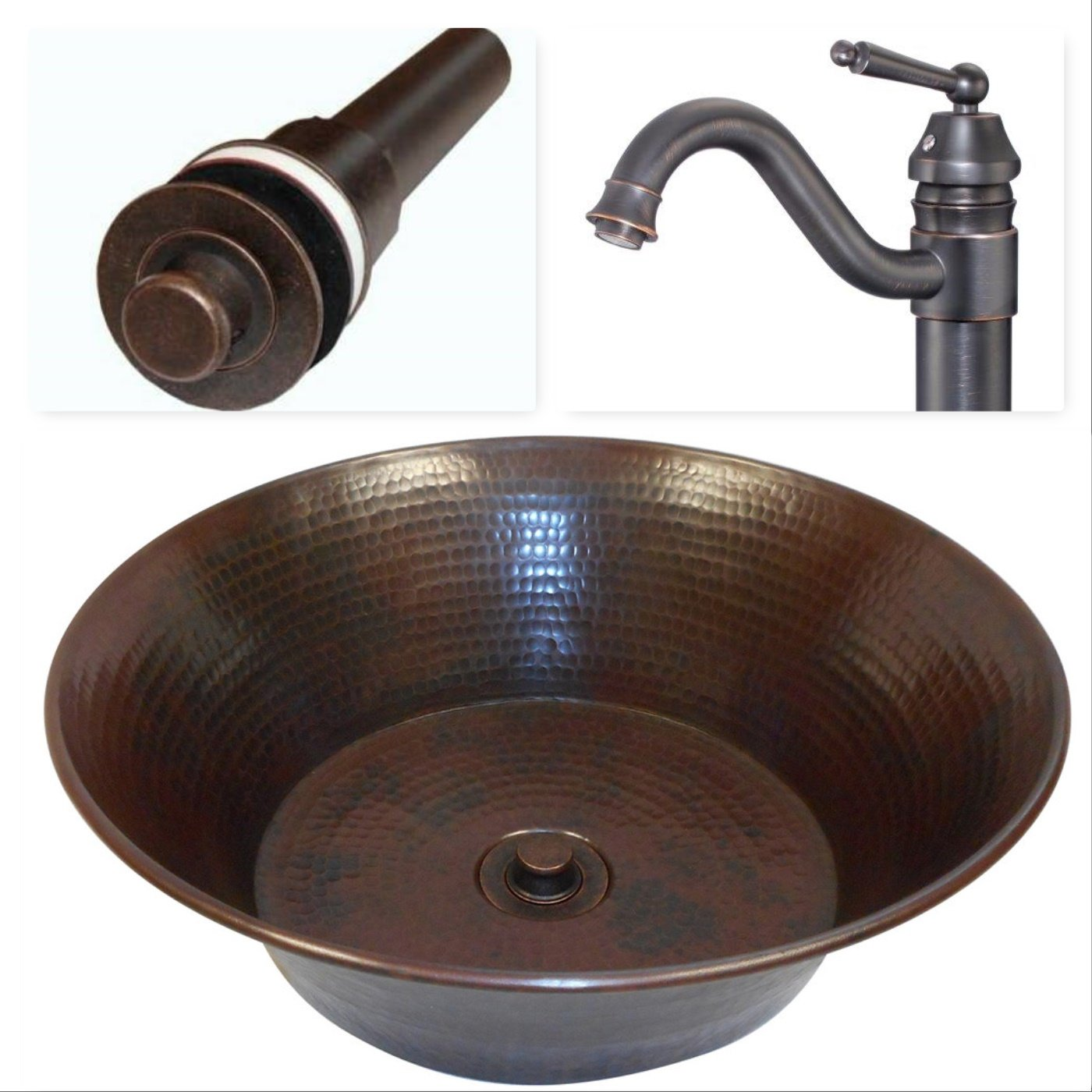 SimplyCopper 15'' Round Copper Vessel Bath Sink with Faucet and Drain Inlcuded by SimplyCopper