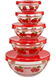 WalterDrake Red Apples Glass Bowls - Set of 5