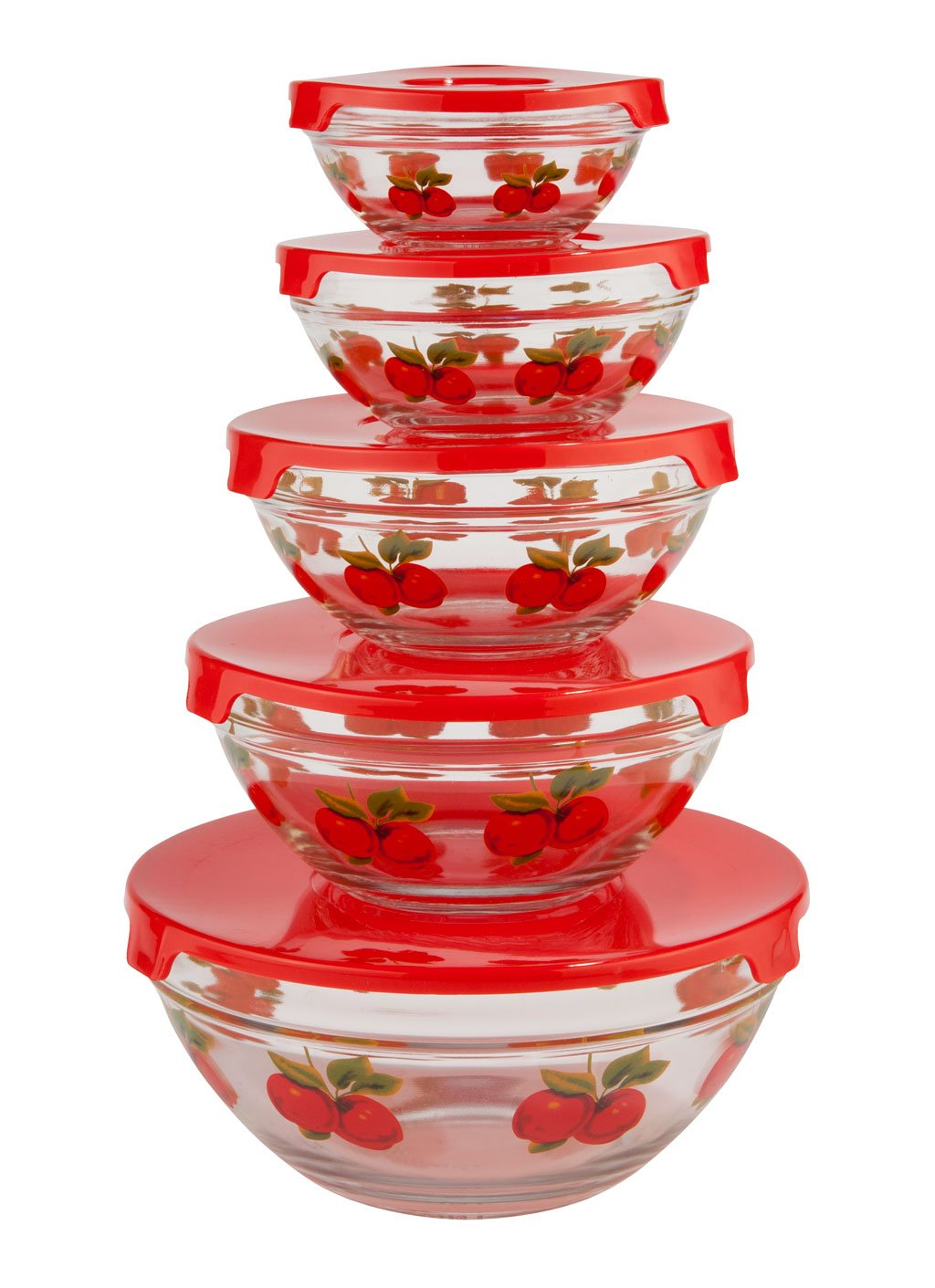 WalterDrake Red Apples Glass Bowls - Set of 5