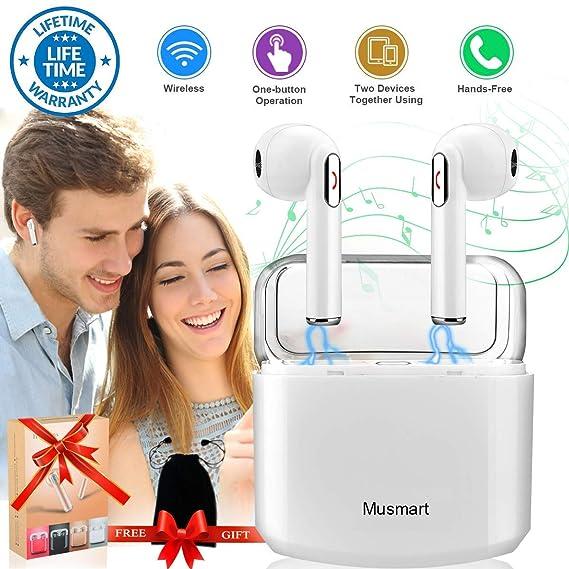 Auriculares Inalámbricos Bluetooth, Mini In Ear Auriculares Sonido Estéreo con Caja de Carga Micrófono Manos